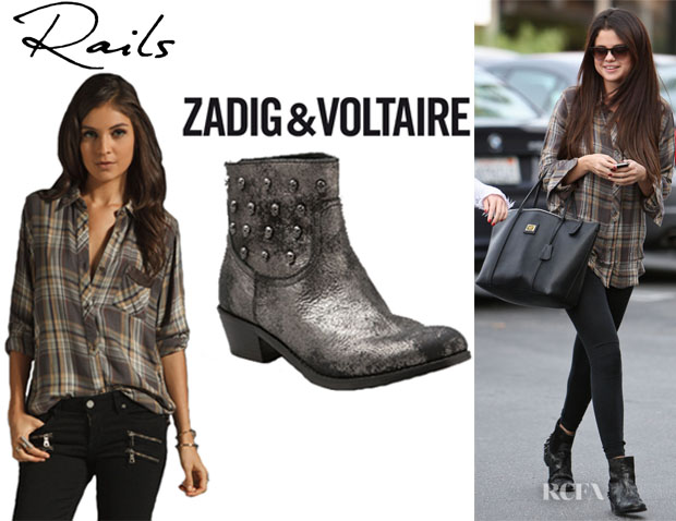 Selena Gomez' Rails Avery Leather Pocket Button Down Top, Dolce & Gabbana Miss Escape Tote And Zadig & Voltaire Teddy Skull Ankle Boots