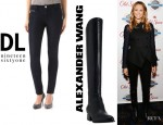 Stacy Keibler's DL1961 Amanda Skinny Jeans And  Alexander Wang Sigrid Leather Boots