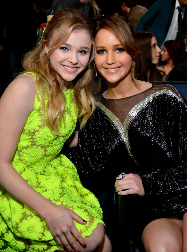Chloe Moretz in Simone Rocha and Jennifer Lawrence in Valentino Couture