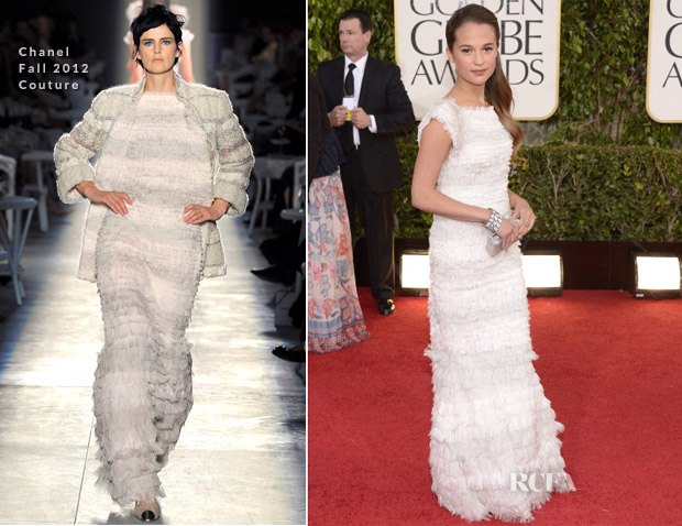 Alicia Vikander In Chanel Couture - 2012 Golden Globe Awards