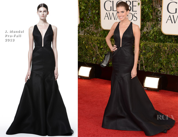 Allison Williams In J Mendel - 2013 Golden Globe Awards
