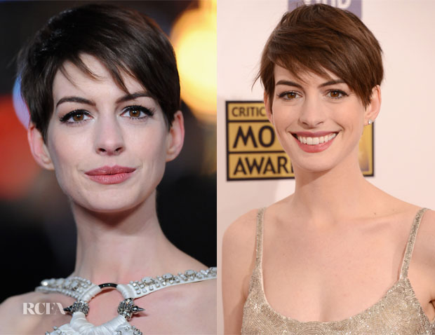 Get The Look Anne Hathaway S Pixie Crop Red Carpet Fashion Awards
