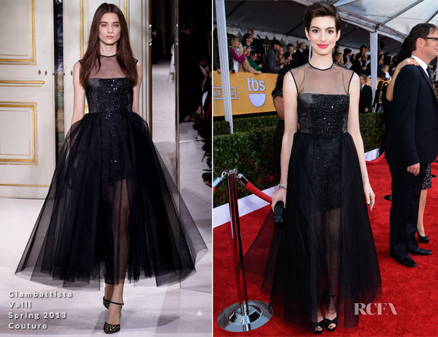 Anne Hathaway In Giambattisa Valli Couture - 2013 SAG Awards