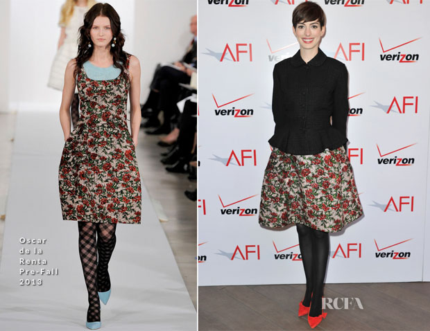 Anne Hathaway In Oscar de la Renta - 2013 AFI Awards
