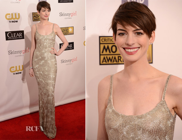 Anne Hathaway In Oscar de la Renta - 2013 Critics' Choice Movie Awards