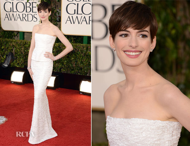 Anne Hathaway in Chanel Couture - 2013 Golden Globe Awards