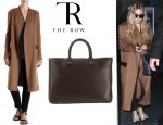 Ashley Olsen's The Row Epar Coat And The Row Day Luxe Tote