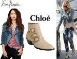 Ashley Tisdale's Free People 'We The Free' Denim Motorcycle Jacket And Chloé Susanna Studded Leather Boots
