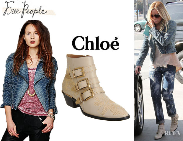 Ashley Tisdale's Free People We The Free Denim Motorcycle Jacket And Chloé Susanna Studded Leather Boots1