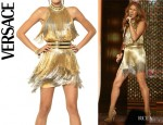 Celine Dion's Versace Fringed Tie Dyed Gabardine Dress