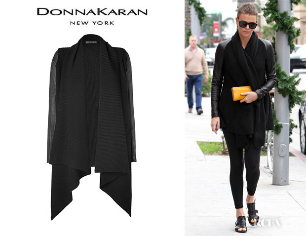 Charlize Theron's Donna Karan Leather Sleeve Wool-Cashmere Cozy Cardigan