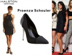 Cheryl Cole's Halston Heritage Racerback Silk Cotton Faille Fitted Dress And Proenza Schouler Combo Pointed Toe Pumps