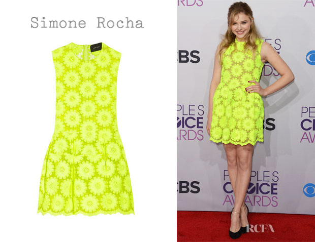 Chloe Moretz' Simone Rocha Neon Embroidered Dress