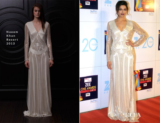 Deepika Padukone In Naeem Khan - Zee Cine Awards 2013