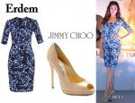 Deepika Padukone's Erdem Fay Dress And Jimmy Choo Quiet Peep-Toes