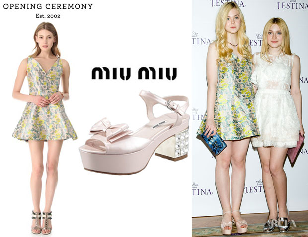 Elle Fanning's Opening Ceremony Plunge Jacquard Dress And Miu Miu Patent Jewel-Heel Bow-Toe Sandals