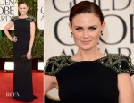 Emily Deschanel In Badgley Mischka - 2013 Golden Globe Awards