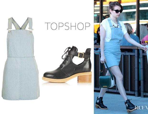 Emma Roberts' Topshop Denim Pini Dress And Topshop Aftershock Cutout Boots