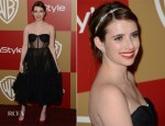 Emma Roberts In Maria Lucia Hohan - Warner Bros. And InStyle Golden Globe Awards After Party