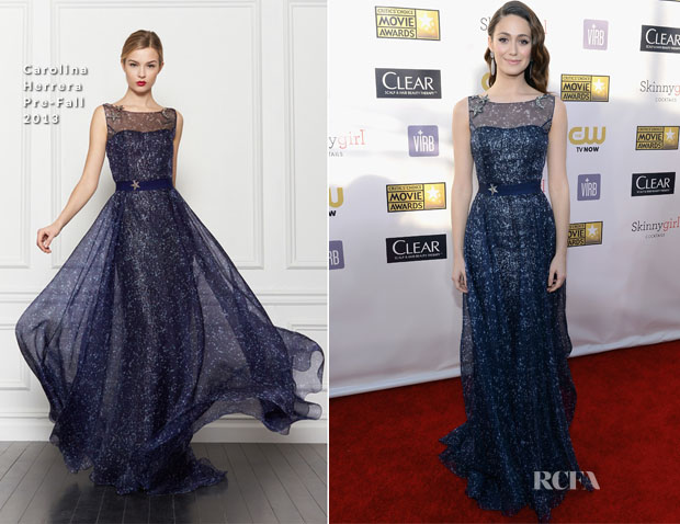 Emmy Rossum In Carolina Herrera - 2013 Critics' Choice Movie Awards