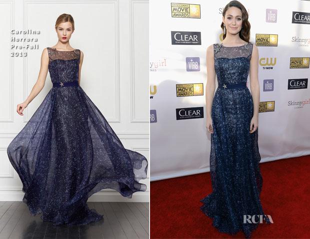 5bef154880c74 Emmy Rossum In Carolina Herrera - 2013 Critics  Choice Movie Awards ...