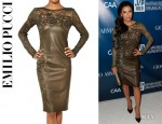 Eva Longoria's Emilio Pucci Lace And Leather Dress