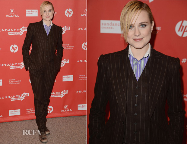 Evan Rachel Wood In Ralph Lauren Purple Label - 'The Necessary Death of Charlie Countryman' Sundance Film Festival Premiere