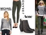 Gwen Stefani's MICHAEL Michael Kors Dotted Knit Pullover, J Brand '8711 Roz Trapunto' Stitched Pants And Acne 'Pistol' Boots