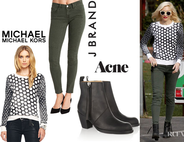Gwen Stefani's MICHAEL Michael Kors Dotted Knit Pullover, J Brand '8711 Roz Trapunto' Stitched Pants And Acne Pistol Boots