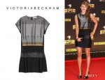Jade Jones' Victoria, Victoria Beckham Satin And Brocade Dress