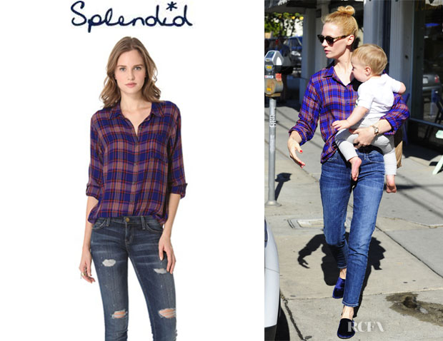 January Jones' Splendid Charlee Plaid Blouse