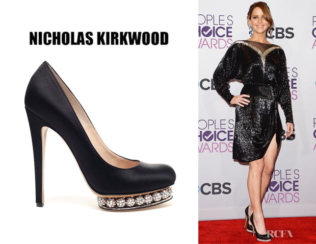 Jennifer Lawerence's Nicholas Kirkwood Satin Pumps With Bejewelled Platform