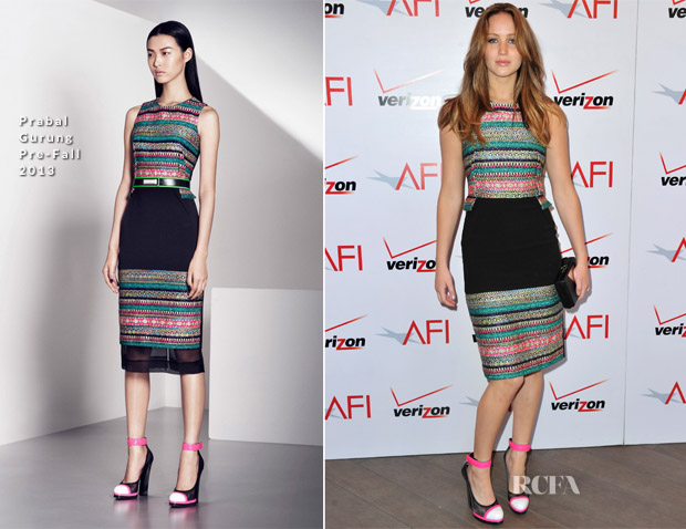 Jennifer Lawrence In Prabal Gurung - 2013 AFI Awards