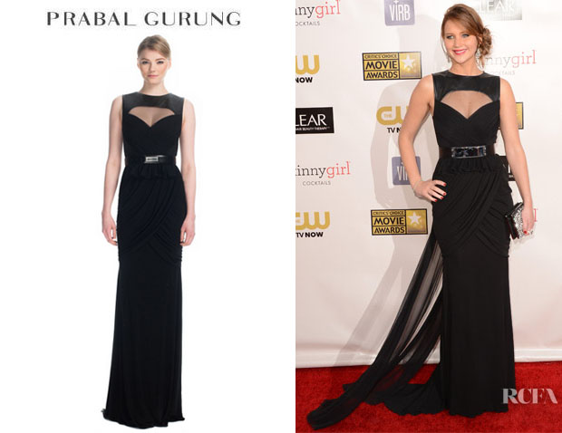 Jennifer Lawrence's Prabal Gurung Hand Draped Leather Yoke Gown