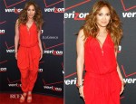 Jennifer Lopez In Vivienne Westwood Anglomania - Jennifer Lopez Flyaway Contest Meet & Greet