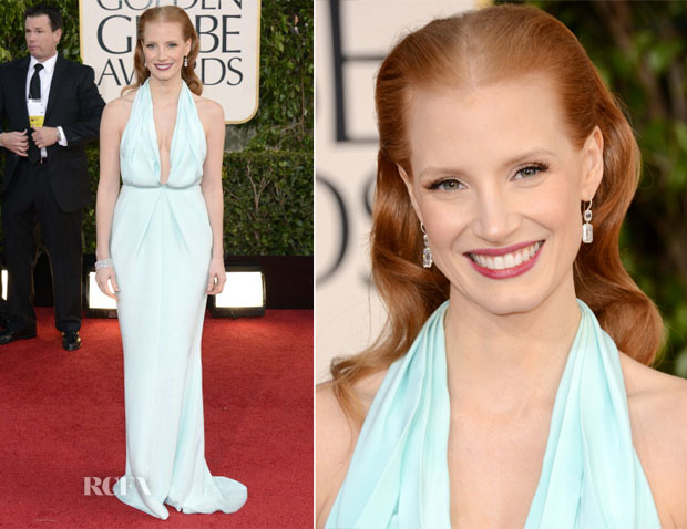 Jessia Chastain in Calvin Klein - 2013 Golden Globe Awards