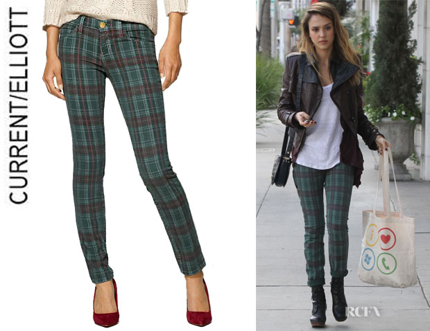 Jessica Alba's CurrentElliott Plaid Ankle Skinny Jeans