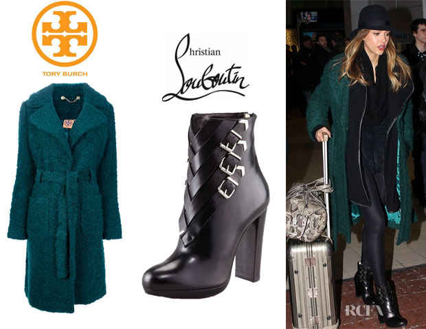 Jessica Alba's Tory Burch Belted Wool Coat And Christian Louboutin 'Troop' Buckled Booties