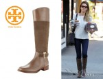 Jessica Alba's Tory Burch Tenley Suede & Leather Riding Boots