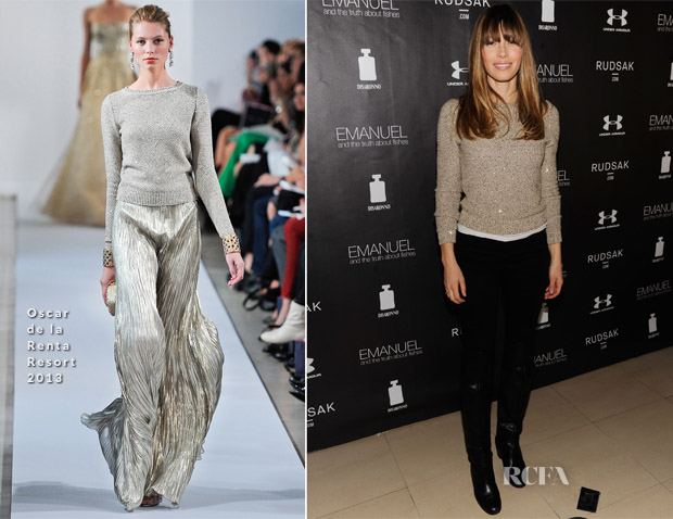 Jessica Biel In Oscar de la Renta - Next Generation Filmmaker Dinner Series 'Emanuel And The Truth About Fishes'