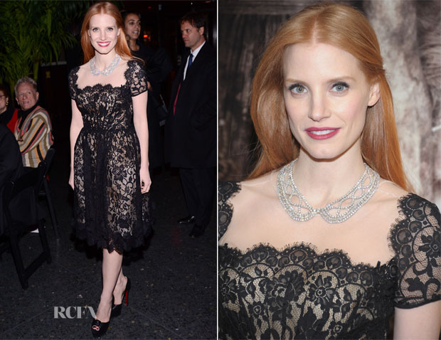 Jessica Chastain In Oscar de la Renta - 2012 New York Film Critics Circle Awards