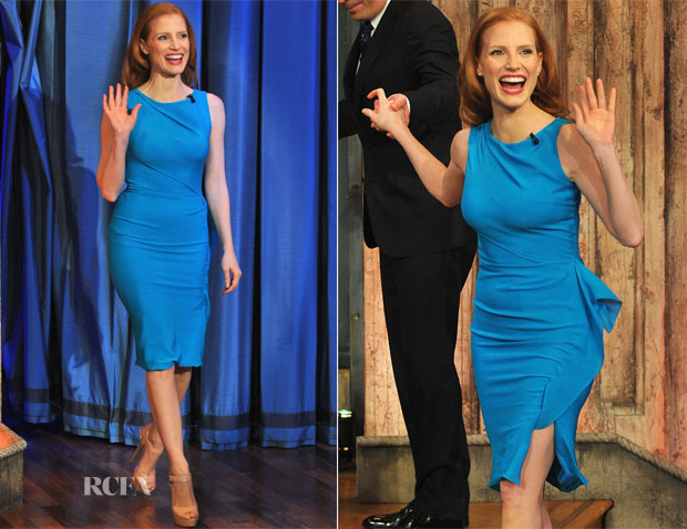 Jessica Chastain In Roksanda Ilincic - Late Night With Jimmy Fallon