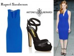 Jessica Chastain's Antonio Berardi Cutout Crepe Dress And Rupert Sanderson Camail Suede Sandals