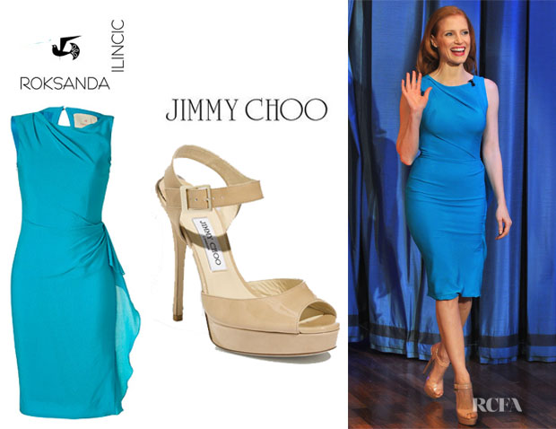 Jessica Chastain's Roksanda Ilincic Kendal Dress And Jimmy Choo Linda Sandals