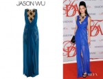 Jessica Stam's Jason Wu Silk Chiffon And Lace Dress