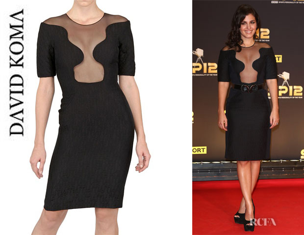 Katie Melua's David Koma Silk Jacquard and Net Dress