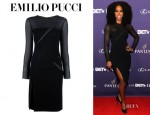 Kelly Rowland's Emilio Pucci Long Sleeve Sheer Slit Dress