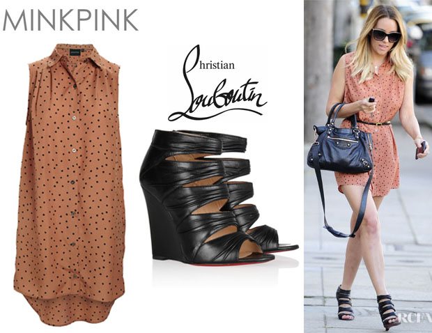 Lauren Conrad's Mink Pink Going Dotty Shirt Dress And Christian Louboutin Developpa Leather Wedge Sandals