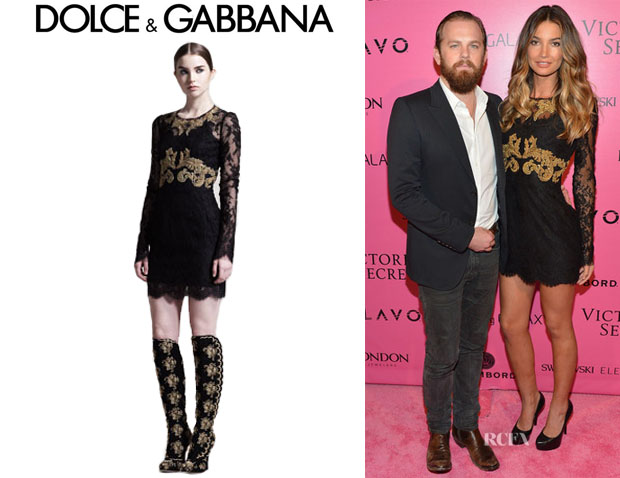 Lily Aldridge's Dolce & Gabbana Long Sleeve Embroidered Lace Dress
