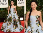 Lucy Liu In Carolina Herrera - 2013 Golden Globe Awards